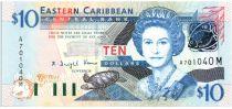 Isole dei Caraibi 10 Dollars Elizabeth II - Admiratly Bay , the Warspite boat - Letter M - 2003