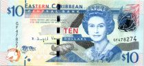 Isole dei Caraibi 10 Dollars Elizabeth II - Admiratly Bay, the Warspite boat  - 2016