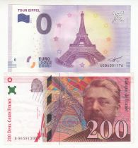 Israel Set incluing 200 Francs Eiffel, 0 Euro Eiffel - 230 Years of Eiffel Tower