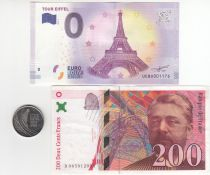 Israel Set incluing 200 Francs Eiffel, 0 Euro Eiffel and coin of 5 Francs - 230 Years of Eiffel Tower
