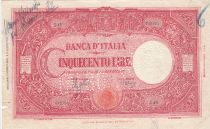 Italia 500 Lire - 23-08-1943 - Red, COUNTERFEITED, perforated FALSO