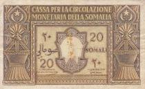 Italian Somaliland 20 Somali - 1950 Serial A 014 - P.14 - Fine