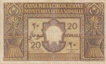 Italian Somaliland 20 Somali - 1950 Serial A 017 - P.14 - Fine