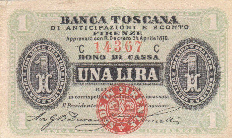 Italie 1 Lira, Banca Toscana - Série CC - 1870 - SUP