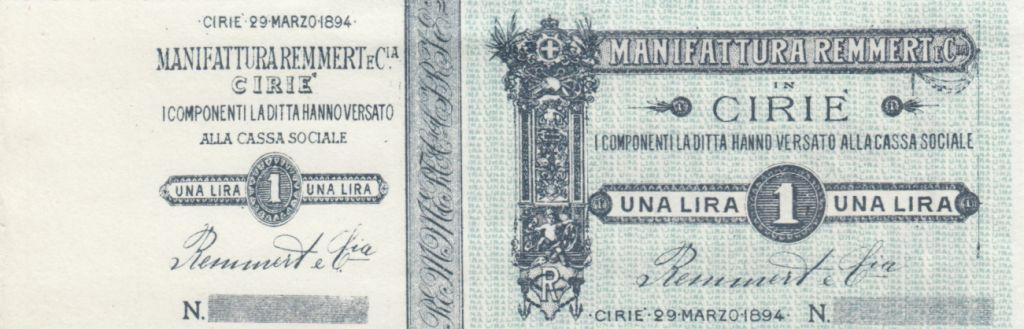 Italie 1 Lira, Manufacture Cirié - 1894 - Bon fiduciaire -  non émis