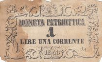 Italie 1 Lire Moneta Patriottica  - Lion de Venise 1848 - Etat B