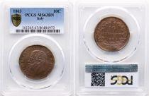 Italie 10 Centesimi Victor Emmanuel II - 1863 - PCGS MS 63