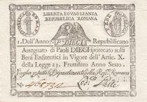 Italie 10 Paoli 1798 - Aigle, Anno 6 - Rep romana 2ème ex