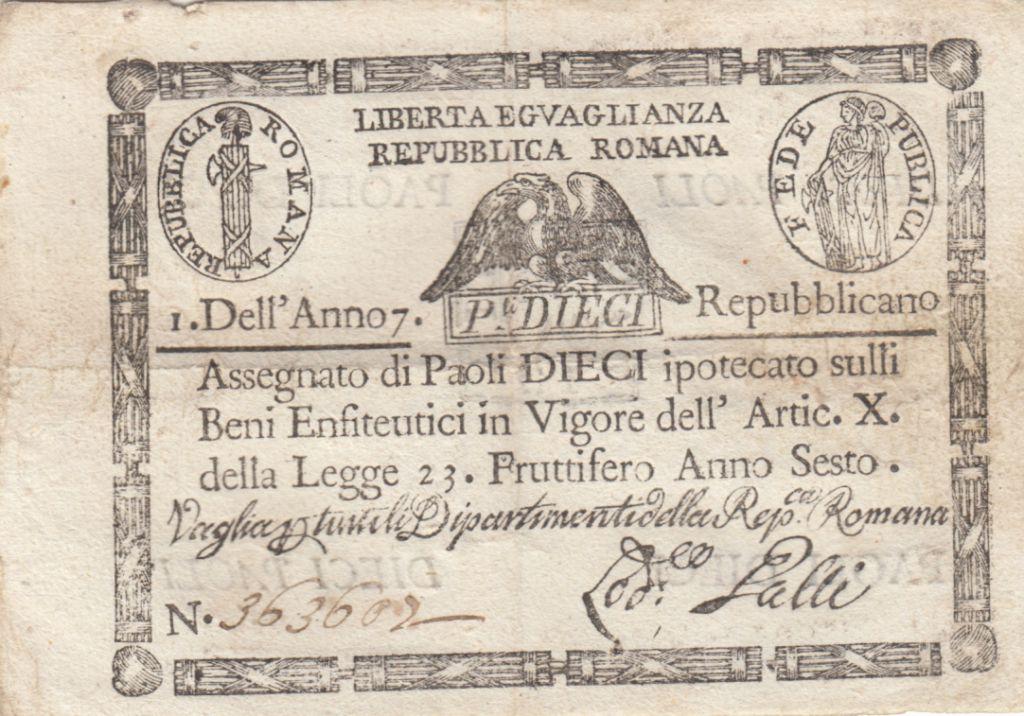 Italie 10 Paoli Aigle, Anno 7 - 1798 - Rectangle - 2ex