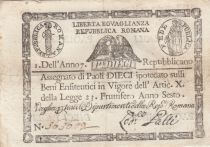 Italie 10 Paoli Aigle, Anno 7 - 1798 - Rectangle - 2ex