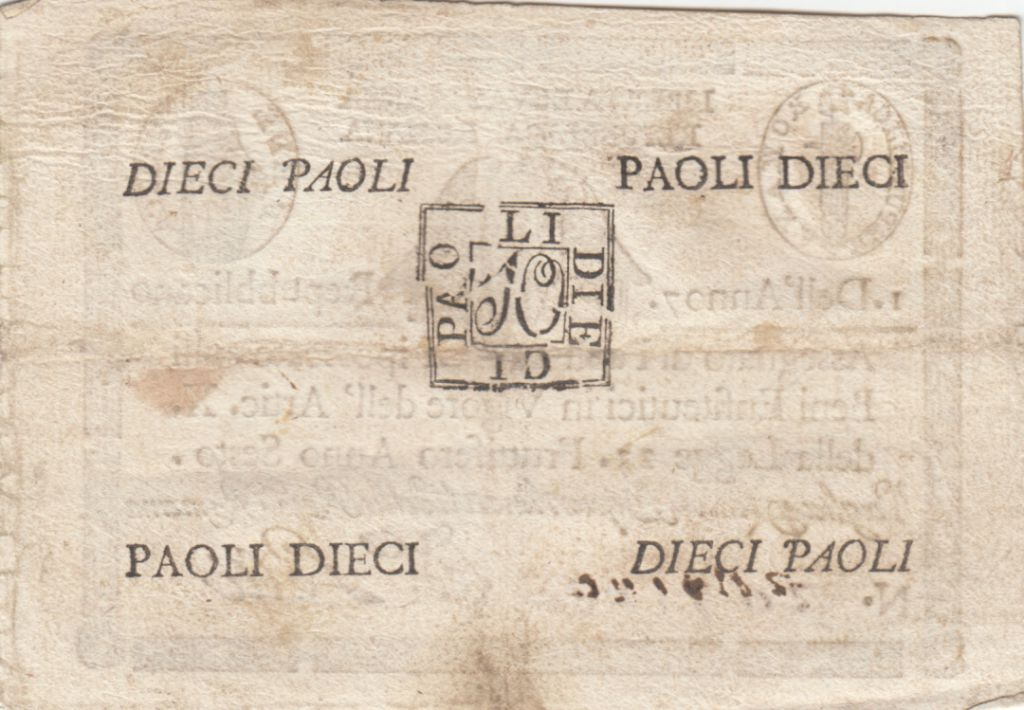 Italie 10 Paoli Aigle, Anno 7 - 1798 - Rectangle
