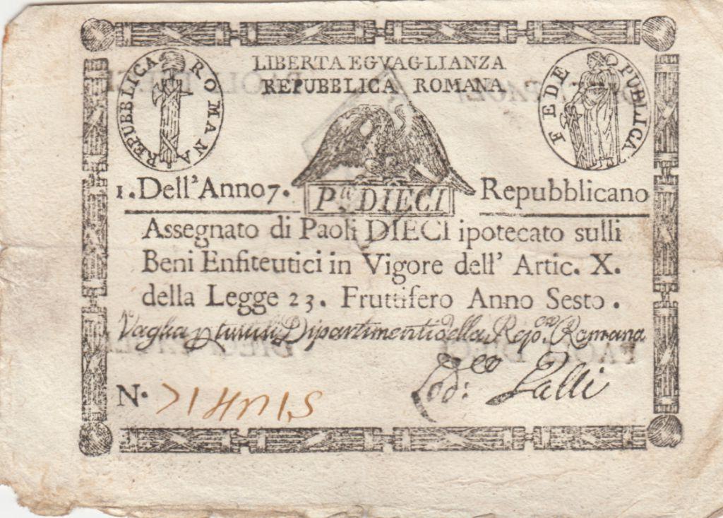 Italie 10 Paoli Aigle, Anno 7 - 1798 Losange 3 ex