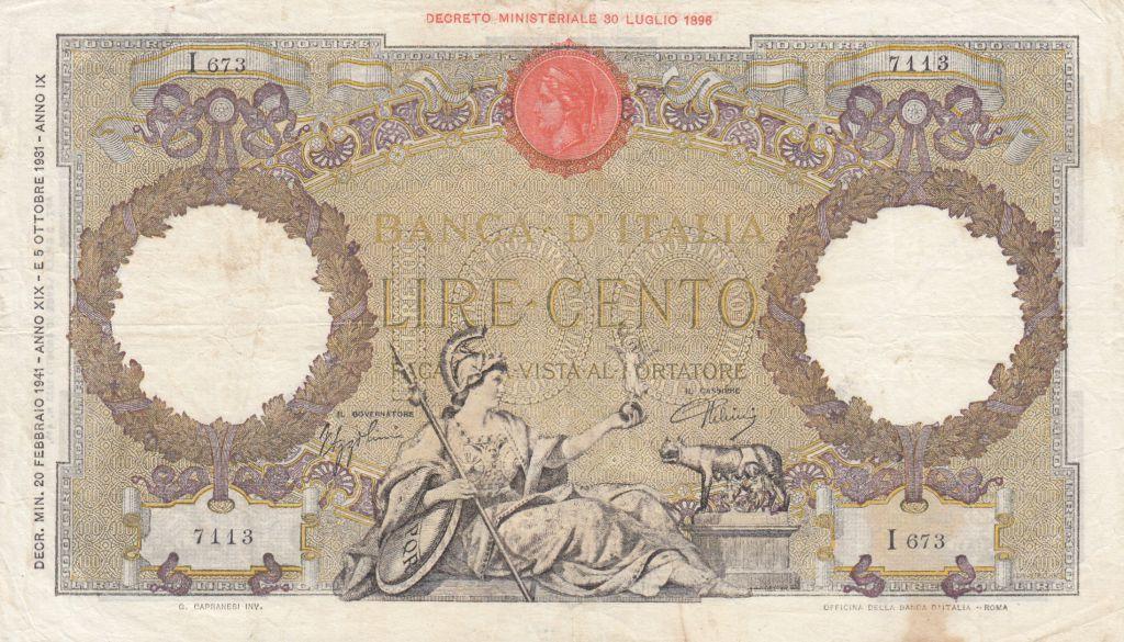 Italie 100 Lire - 20-02-1939 - Femme au sceptre, Aigle - Série I673