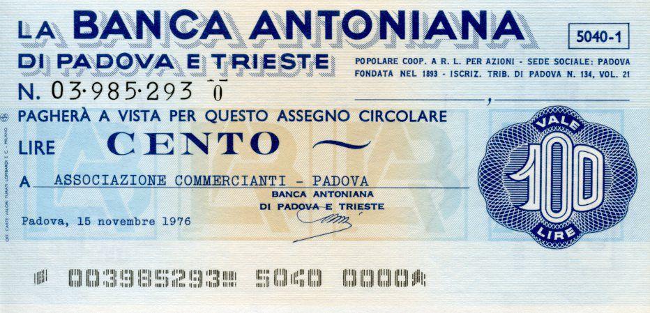 Italie 100 Lire Banca Antonina di Padova i Trieste - 1976 - Padova - NEUF