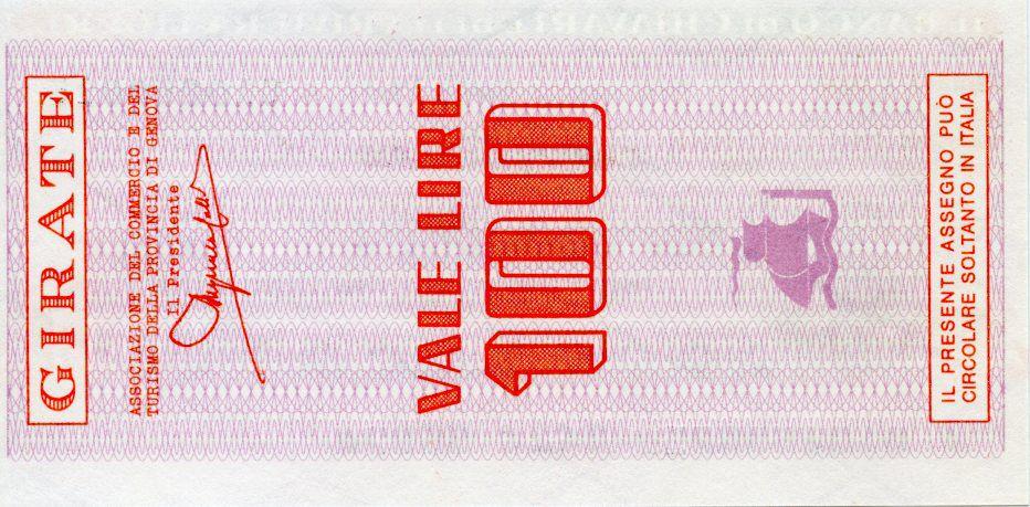 Italie 100 Lire Banco di Chiavari e della Riviera Ligure - 1977 - Genova - Neuf