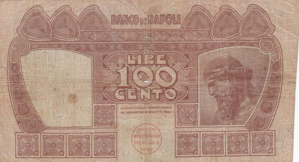 Italie 100 Lire Banco di Napoli - 1908