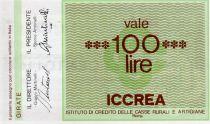 Italie 100 Lire ICCREA - 1977 - Roma - à Confesercenti della Provincia di Forli - NEUF