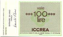 Italie 100 Lire ICCREA - Barnabe Silvano - 1977 - Neuf