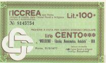 Italie 100 Lire ICCREA - Bra - 1977 - Neuf