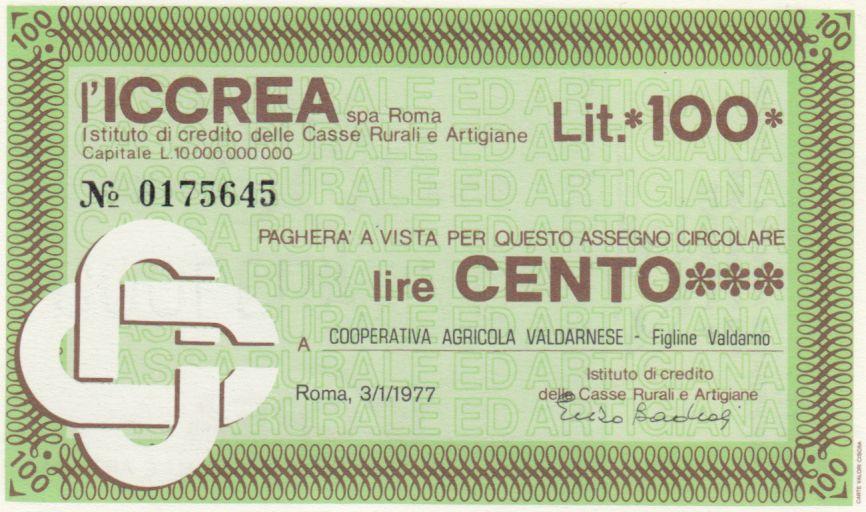 Italie 100 Lire ICCREA - Valdarno - 1977 - Neuf