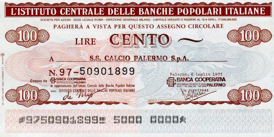Italie 100 Lire Istituto Centrale Delle Banche Popolari Italiane - 1977 - Palermo - NEUF