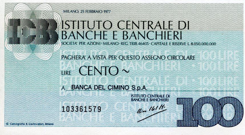 Italie 100 Lire Istituto Centrale di Banche E Banchieri - 1977 - Milano - Neuf