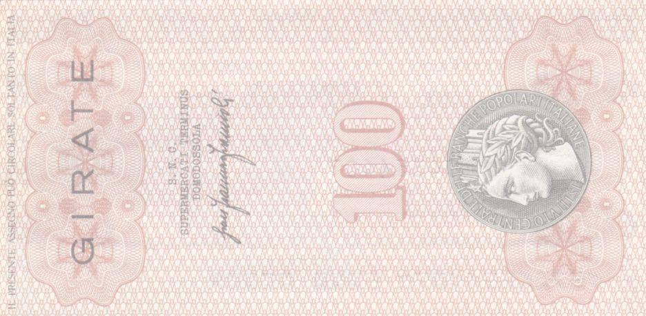 Italie 100 Lire Istituto Generale delle Banche Popolari Italiane - 1976 - Neuf - Domodossola