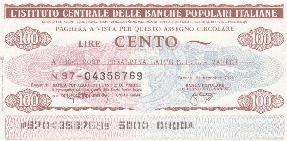 Italie 100 Lire Istituto Generale delle Banche Popolari Italiane - 1976 - Neuf - Varese