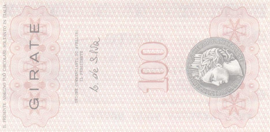 Italie 100 Lire Istituto Generale delle Banche Popolari Italiane - 1977 - Neuf - Avelino