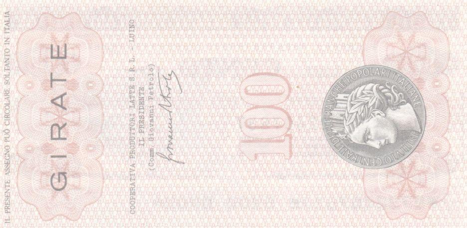 Italie 100 Lire Istituto Generale delle Banche Popolari Italiane - 1977 - Neuf - Luino