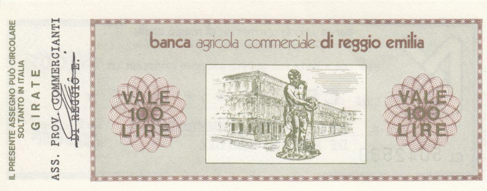 Italie 100 Lires Banca Agricola Commerciale di Reggio Emilia - 1976 - Neuf