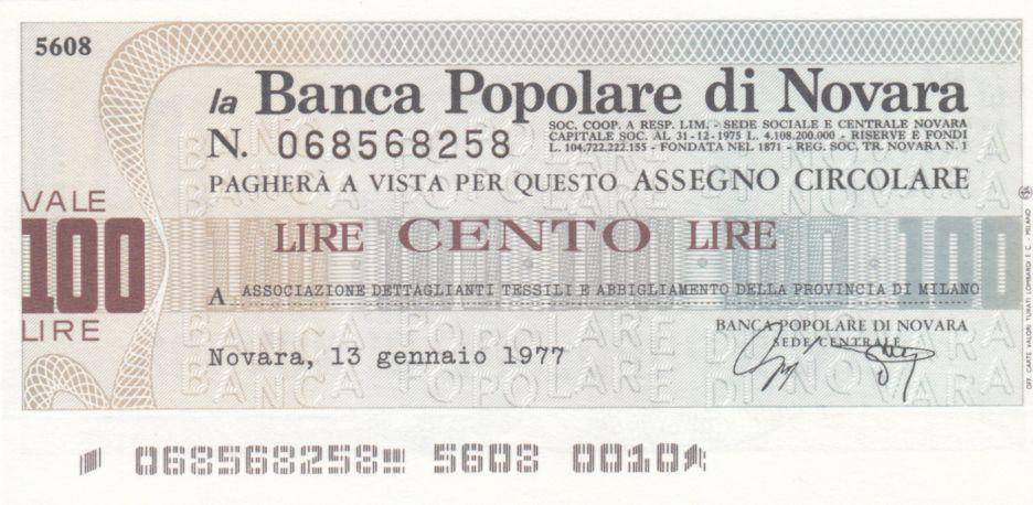 Italie 100 Lires Banca Popolare di Novara - 13-01-1977 - Neuf