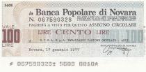Italie 100 Lires Banca Popolare di Novara - 17-01-1977 - Neuf