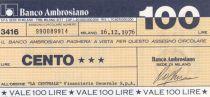 Italie 100 Lires Banco Ambrosiano - 16-12-1976 - Neuf