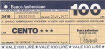 Italie 100 Lires Banco Ambrosiano - 29-06-1977 - Neuf