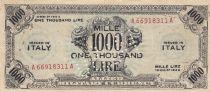 Italie 1000 Lire 1943 - Gris - FAUX, perforé et tamponné FALSO