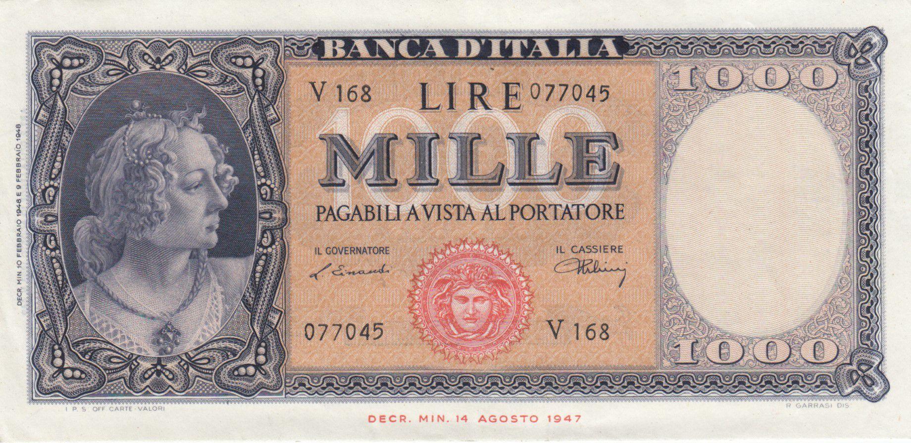 Italie 1000 Lires Italia - 1948 - SUP - Série V 168 - P.88a