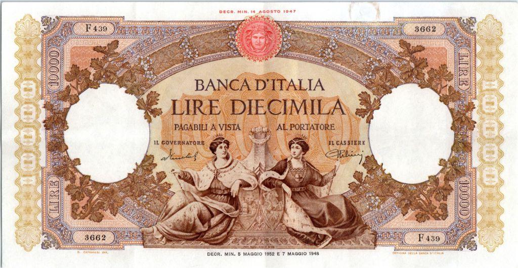 Italie 10000 Lire Venise et Gênes assises - 1952