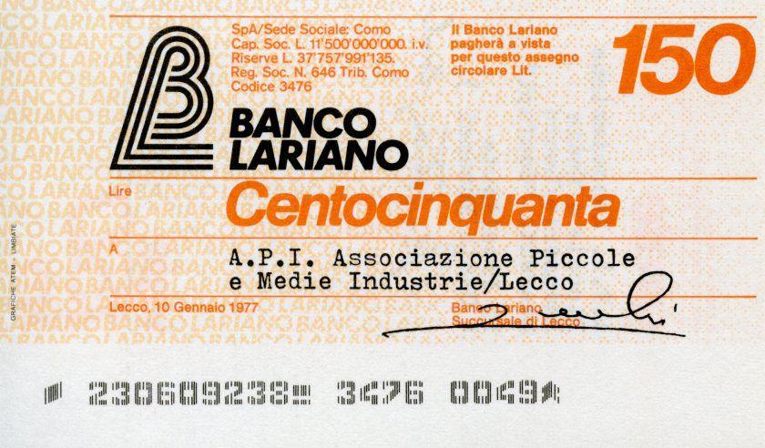 Italie 150 Lire Banco Lariano - 1977 - Lecco - Neuf