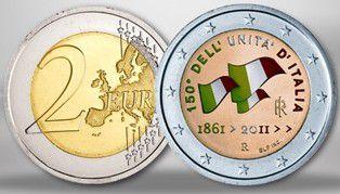 Italie 2 Euro 150 ans Unification de l\'Italie, colorisée