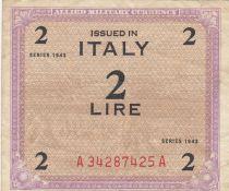 Italie 2 Lire 1943 - Violet et marron - Série A34287425A
