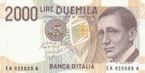 Italie 2000 Lire - 03-10-1990 - Marconi, Navire, Transmissions, Electricité