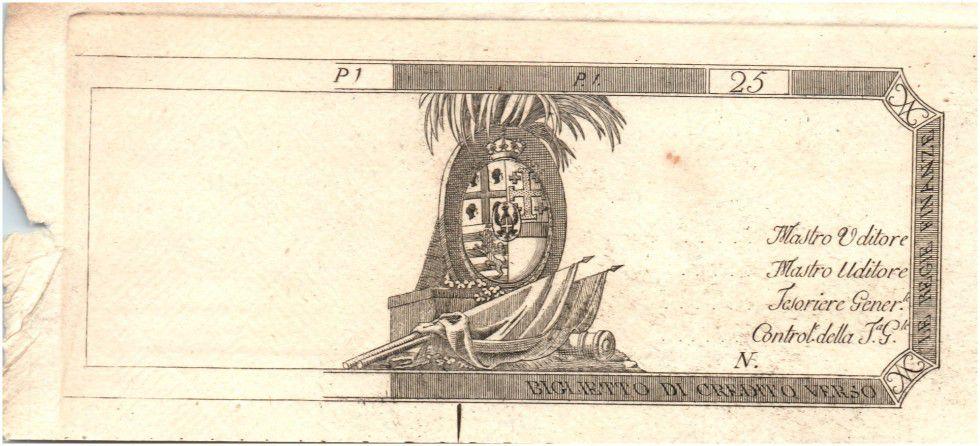 Italie 25 Lire Drapeaux et armoiries (1792-1794) - Epreuve