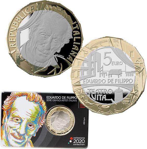 Italie 5 Euro Eduardo De Filippo 2020 - en folder - Bimétal