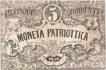 Italie 5 Lire Armoiries de Venise et Milan - 1848 - 197