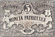 Italie 5 Lire Armoiries de Venise et Milan - 1848