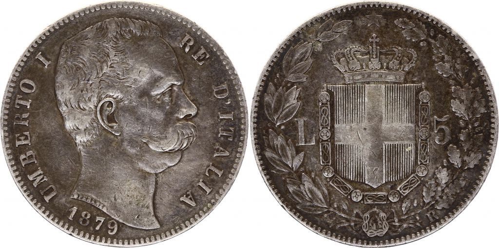 Italie 5 Lire Umberto I - Armoiries - 1879 R - Argent