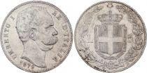 Italie 5 Lire Umberto I - Armoiries - 1879 R Rome