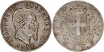 Italie 5 Lire Victor Emmanuel II - Armoiries - 1869 Argent