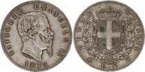 Italie 5 Lire Victor Emmanuel II - Armoiries - 1874 Argent